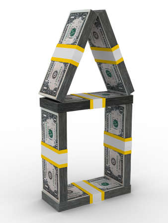 house from money on white background. Isolated 3D image Stock Photo - 6363427