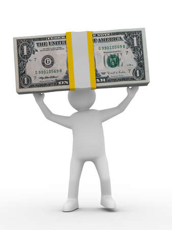man holds money on white background. Isolated 3D image Stock Photo - 6363432