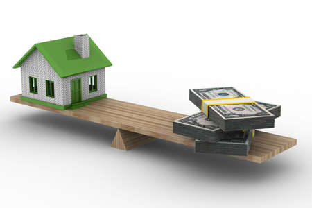 the habitation: house and money on scales. Isolated 3D image Stock Photo