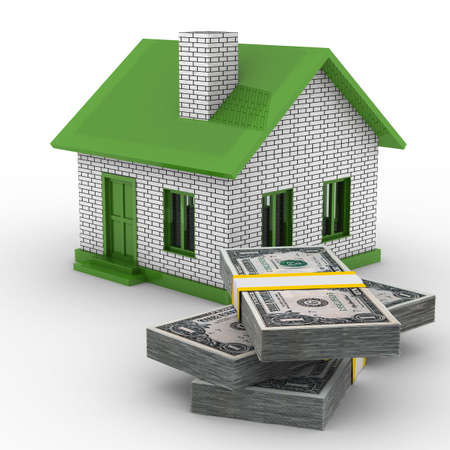 Small house and cash on white background. Isolated 3D image Stock Photo - 6375111
