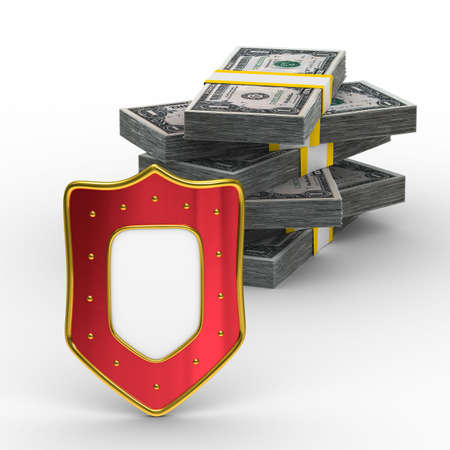 buckler: Protection of money. Isolated 3D image on white background