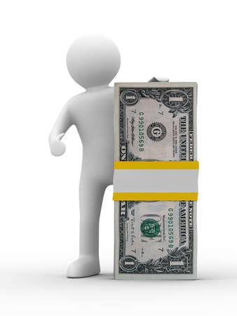 man holds money on white background. Isolated 3D image Stock Photo - 6375112