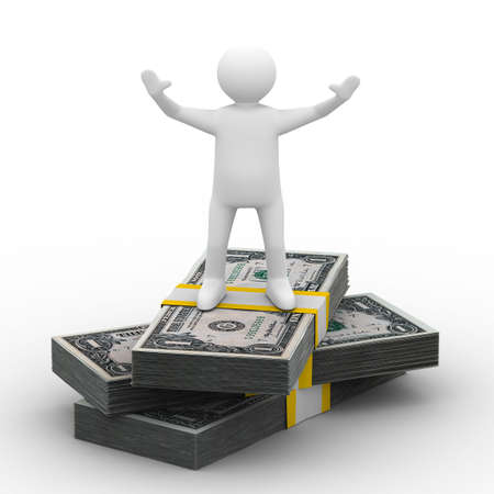 man stand on dollars. Isolated 3D image. Stock Photo - 6382472