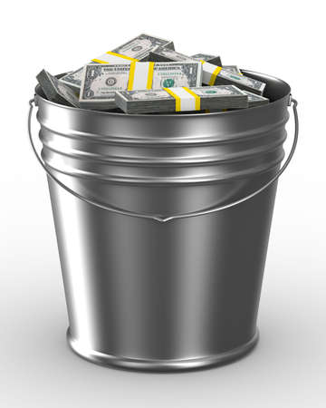 bucket of money: Bucket with money on white background. Isolated 3D image Stock Photo