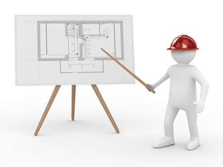man and banner: engineer at board with plan. Isolated 3D image Stock Photo