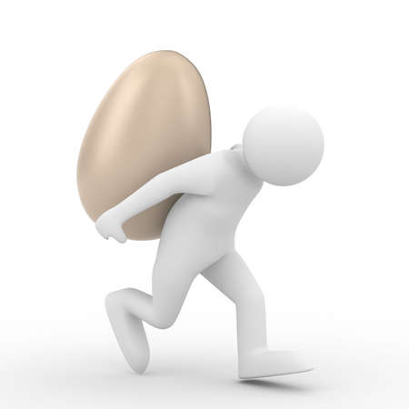 men carry  egg on back. Isolated 3D image photo