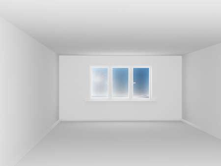 Empty white room with window. 3D image Stock Photo - 6435189