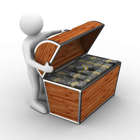 Open box with dollars on white background. Isolated 3D image photo