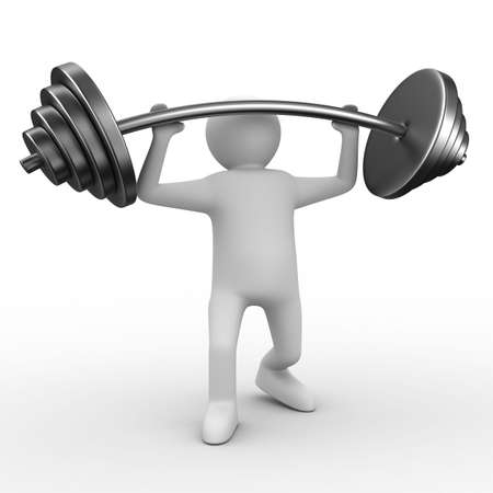 hand with dumbbell: weight-lifter lifts barbell on white. Isolated 3D image
