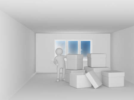 man with boxes in room. 3D image photo