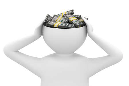 thinks: businessman thinks of money. Isolated 3D image
