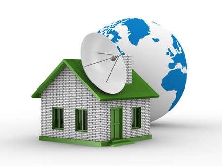 antena parabolica: sat�lite a�rea en casa. Aislado de la imagen 3D Foto de archivo