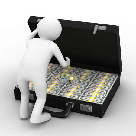 Open suitcase with dollars on white background. Isolated 3D image photo