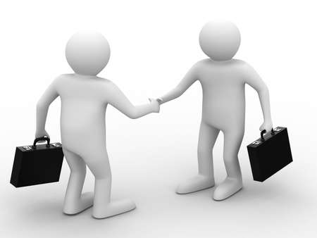 welcome business: Handshake. Meeting two businessmen. Isolated 3D image