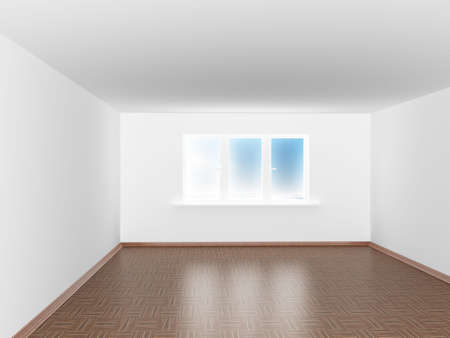 plinth: Empty white room with window. 3D image