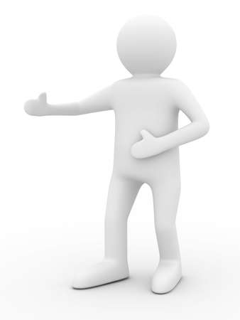 person in greeting pose. Isolated 3D image photo