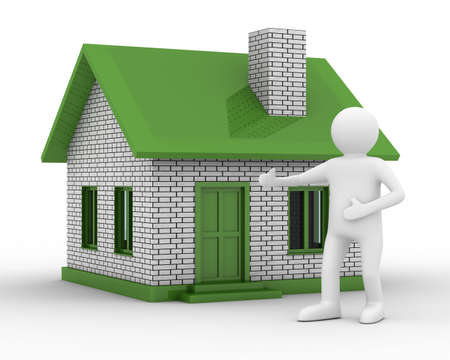 Presentation of new house. Isolated 3D image Stock Photo - 6508957