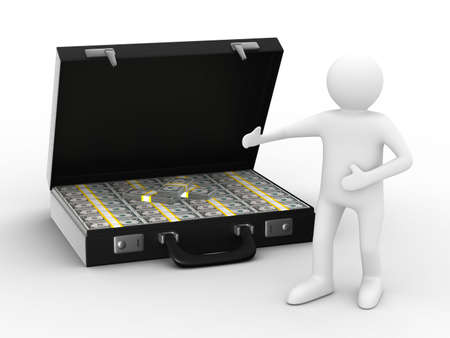 Open suitcase with dollars on white background. Isolated 3D image Stock Photo - 6508959