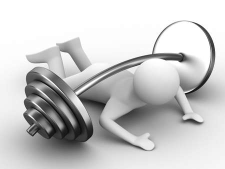 weight-lifter pressed down barbell. Isolated 3D image Stock Photo - 6526790