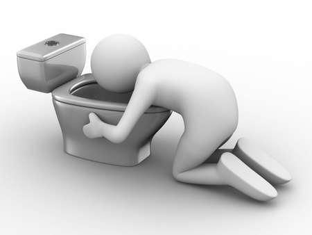 borracha: hombre sobre el inodoro sobre fondo blanco. Aislado de la imagen 3D