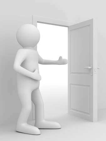man invites to pass open door. 3D image photo
