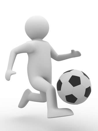 tourney: soccer player with ball on white background. Isolated 3D image Stock Photo