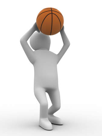 basketball player with ball on white background. Isolated 3D image photo