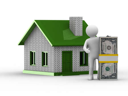 Real estate sale. Isolated 3D image on white photo