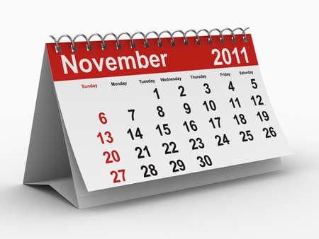 november 3d: 2011 year calendar. November. Isolated 3D image