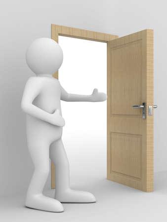 man invites to pass open door. 3D image photo
