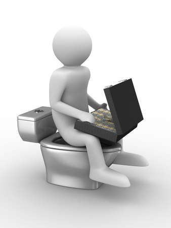 man sits on toilet bowl with money. Isolated 3D image photo