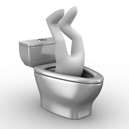 man into toilet bowl. Isolated 3D image photo