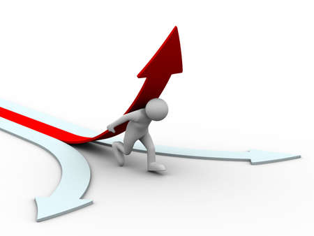 man climb red arrow. Isolated 3D image Stock Photo - 6665103