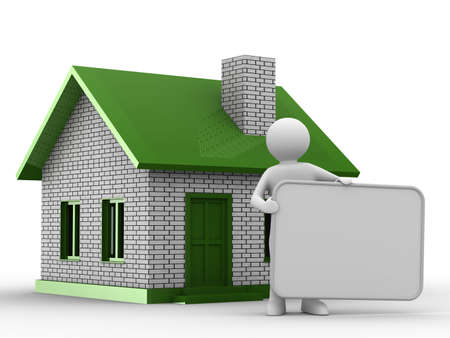 man and banner: Presentation of new house. Isolated 3D image