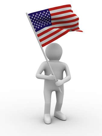 man waves flag on white background. Isolated 3D image Stock Photo - 6672524