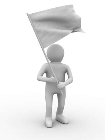 man waves flag on white background. Isolated 3D image Stock Photo - 6679185