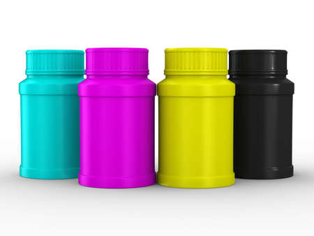 Bottle for tablets. CMYK. Isolated 3D image Stock Photo - 6693900