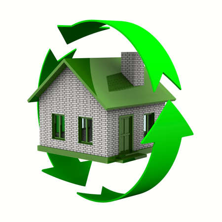 house rental: ecological house. Isolated 3D image on white