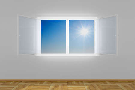 Empty room with open window. 3D image photo