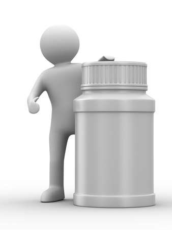 remedy: man with bottle for tablets. Isolated 3D image