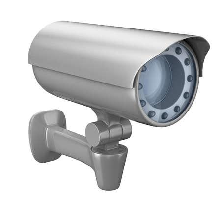 alarme securite: cam�ra de s�curit� sur fond blanc. Image 3D isol�  Banque d'images