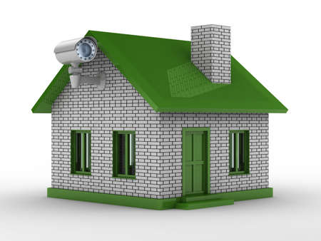 the habitation: security camera on house. Isolated 3D image
