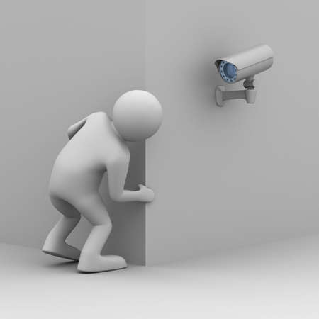 camera surveillance: person looks out of corner. 3D image