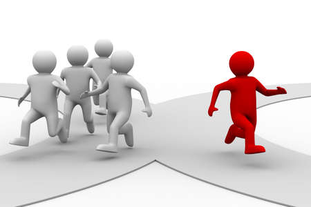 individual: leadership concept on white background. Isolated 3D image