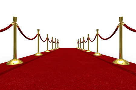 stanchion: Red carpet on white background. Isolated 3D image Stock Photo