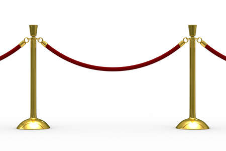 pedestrian walkway: Gold stanchions on white background. Isolated 3D image