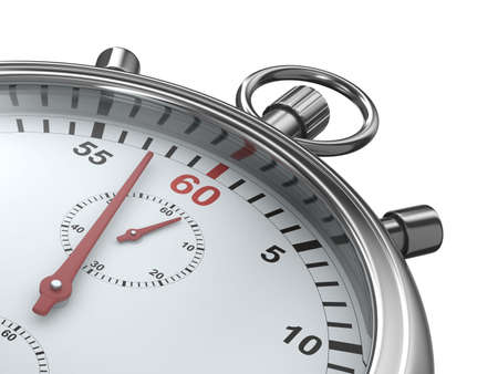 running off: Stopwatch on white background. Isolated 3D image
