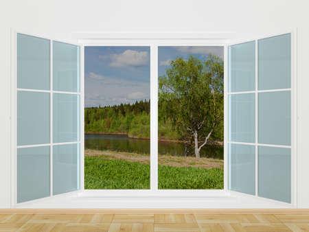 ventana abierta interior: Paisaje de verano detr�s de una ventana. Imagen 3D Foto de archivo