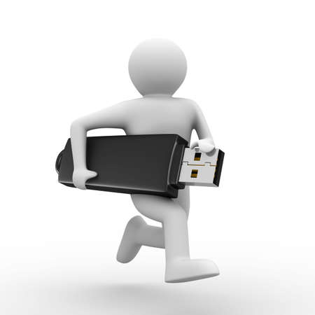 computer memory: man hold usb flash. Isolated 3d image Stock Photo