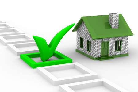 affirmative: House choice on white background. Isolated 3D image Stock Photo